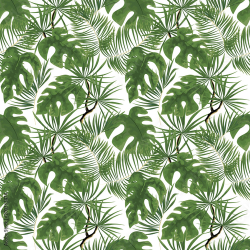 Foto-Vinylboden - seamless pattern of bright green tropical leaves on white background.Vector Tropical palm leaves seamless pattern. Jungle floral ornamental background. Florals for your poster, banner flayer. (von Екатерина Рушева)