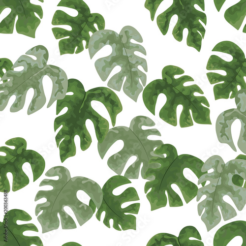 Poster Aquarel Natuur seamless pattern of bright green tropical leaves on white background.Vector Tropical palm leaves seamless pattern. Jungle floral ornamental background. Florals for your poster, banner flayer.