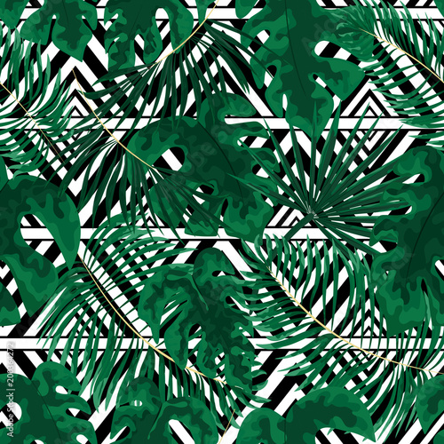 Ingelijste posters Tropische Bladeren seamless pattern of bright green tropical leaves on white background.Vector Tropical palm leaves seamless pattern. Jungle floral ornamental background. Florals for your poster, banner flayer.