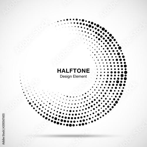 Halftone Circle Frame With Black Abstract Random Dots Logo
