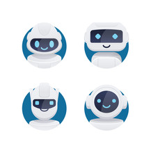 Future Chat Bot Set. Robot Ico...