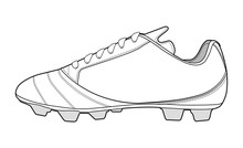 Football Shoes Fashion Flat Technical Drawing Template