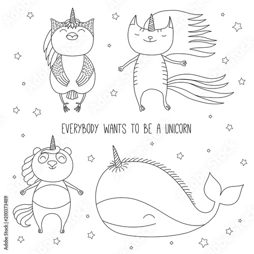 Printed kitchen splashbacks Illustrations Hand drawn black and white vector illustration of cute whale, cat, panda, and owl as unicorns flying among the stars. Isolated objects. Design concept for children coloring pages.