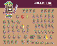 Green Tiki Cartoon Game Charac...