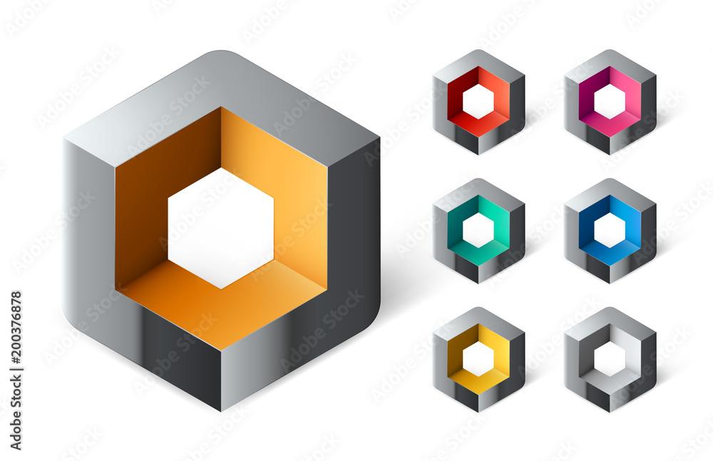 Fototapeta Pack Logo Entreprise Cube