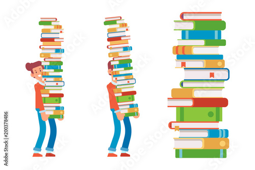 Fotomural Man carrying large stack of books