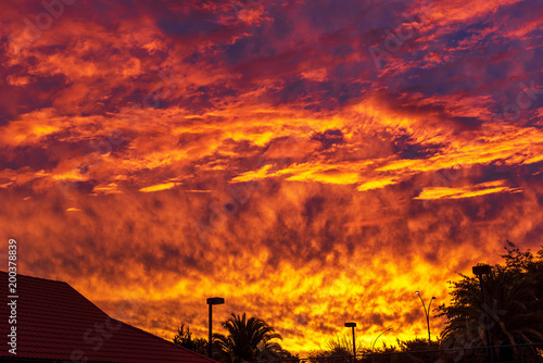 Foto op Canvas Baksteen Silhouette of buildings and trees against a fiery dramatic sky