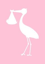 Baby Card Stork Girl Silhouette