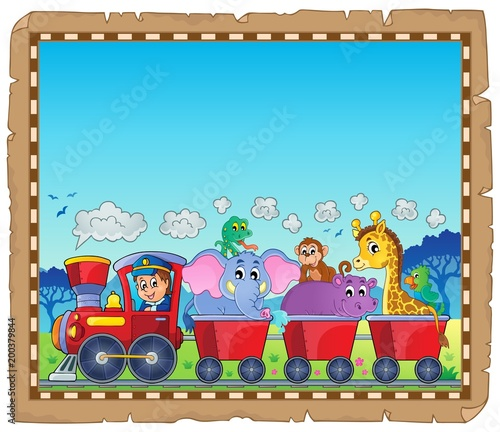 For Kids Train with animals theme parchment 1