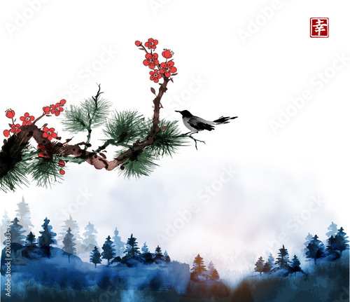 Fotografia  Little bird, pine tree and sakura branches and blue forest trees in fog