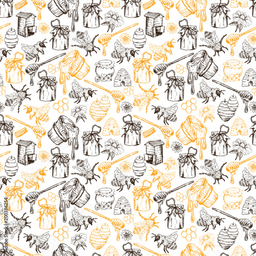 Cotton fabric Honey Bee, Honeycomb And Jar Image Seamless Pattern Design In Sketch. Honey Comb, Pot, Bee Hive, Flowers Hand Drawn Vintage Elements On White Background Vector Illustration
