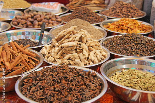 Indian spices  Spices India are sold on the market  Badyan