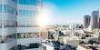 Leinwanddruck Bild - Hochhaus Gebäude in Los Angeles im Sommer