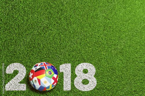 Photographie  Fußball 2018 in Russland mit Teilnehmer Flaggen