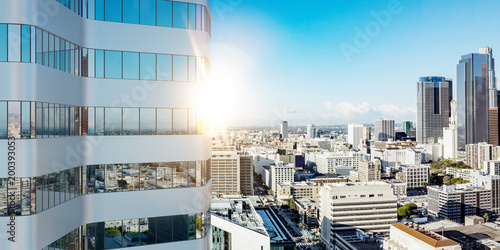 Obraz Hochhaus Gebäude in Los Angeles im Sommer - fototapety do salonu