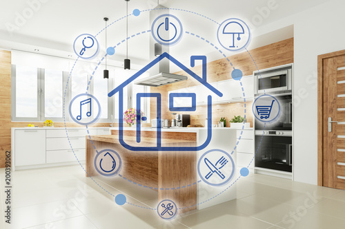 Smart Home Küche mit Interface - Buy this stock illustration and ...
