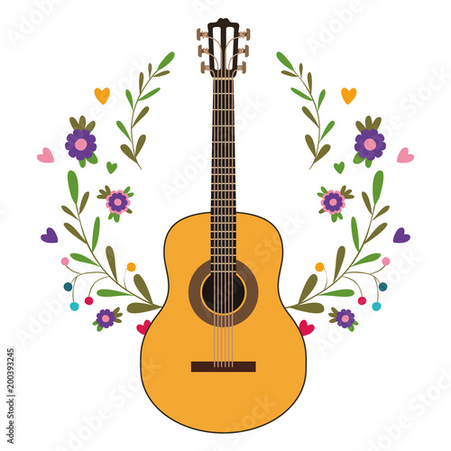 Fotobehang Indiërs acoustic guitar with floral wreath