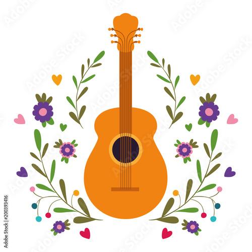 Fotobehang Indiërs acoustic guitar with floral wreath