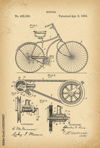 1890 Patent Velocipede Bicycle history  invention Canvas Print