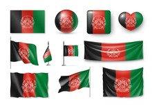 Set Afghanistan Flags, Banners, Banners, Symbols, Flat Icon. Vector Illustration Of Collection Of National Symbols On Various Objects And State Signs