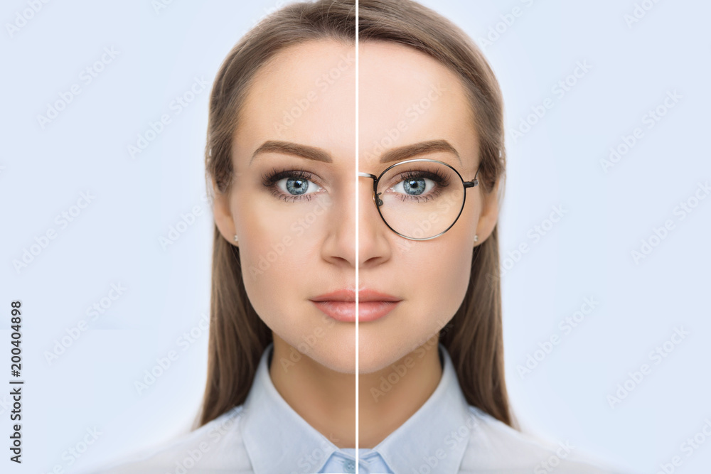 Fototapeta female face, cut in half to present before and after checking vision. Woman face without glasses and with glasses