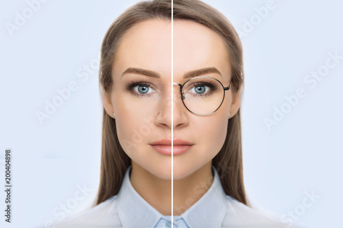 Fototapeta female face, cut in half to present before and after checking vision