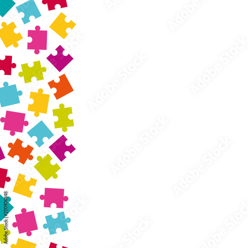 Puzzle piece border. Vector vertical of colorful