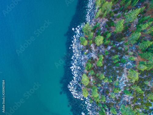 Poster Turquoise Lake Tahoe Coast Line