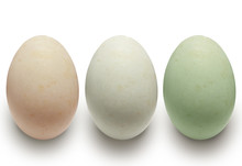 Colorful Duck Eggs Are Different  (isolated On White And Clipping Path)