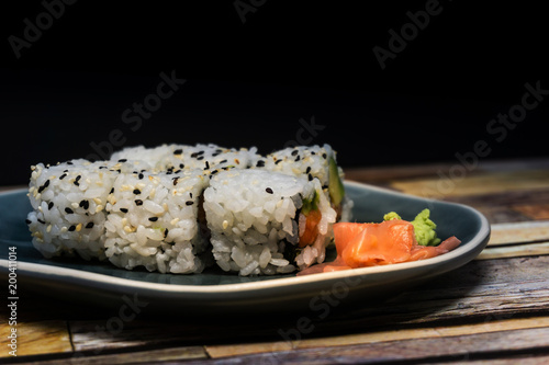 Japanese food Sushi Roll Maki of Salmon and avocado Canvas