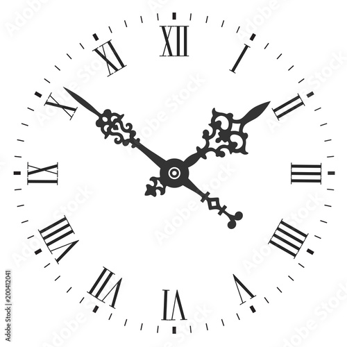 Obraz Elegant clock face with roman numerals and tick marks placed on a white background - fototapety do salonu