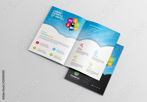 Social Media Brochure Layout With Sun Ray Element Buy This Stock
