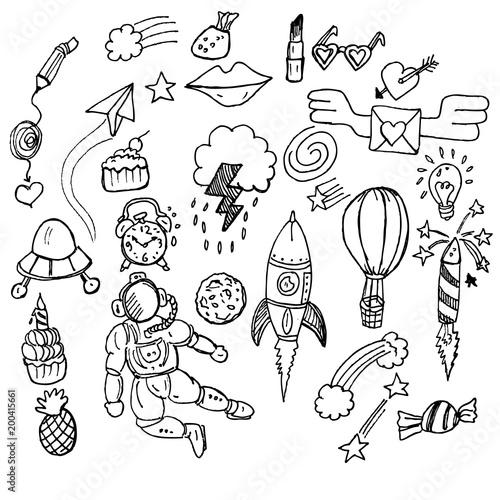 In de dag Boho Stijl doodle, black and white