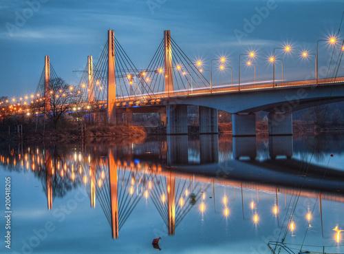 Foto auf Gartenposter Bridges Millennium bridge at dusk. Wroclaw, Poland.