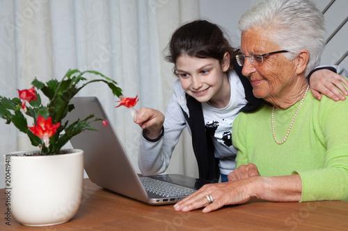 Fotografie, Obraz  nipote insegna alla nonna come usare il computer