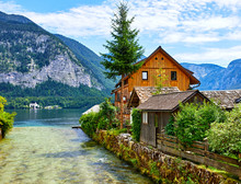 Hallstatt, Austria. Traditional Wooden Austrian House Near River