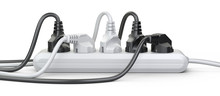 The Electrical Extension Strip With Connected Power Plugs Front View.