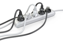 The White Electrical Extension Strip With Connected Power Plugs.