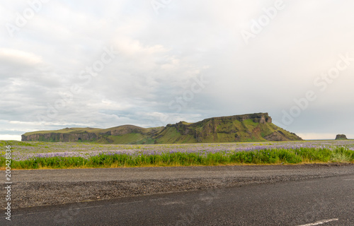 Fotobehang Wit Travel to Iceland. Spectacular Icelandic landscape with road and scenic nature- fjords, fields, clouds. Driving the Ring Road in Southeast Iceland