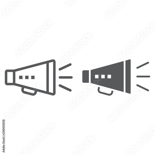 Promotion line and glyph icon, development and business, loudspeaker sign vector graphics, a linear pattern on a white background, eps 10 Tapéta, Fotótapéta