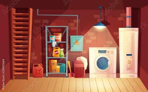 Leinwand Poster Vector cellar interior, laundry inside the basement in cartoon style