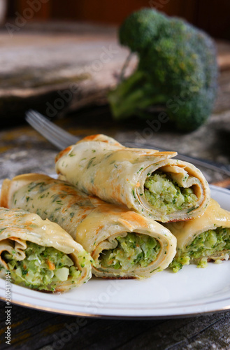 pancakes with broccolli, rustic style