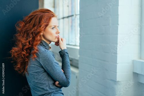 Fotografie, Obraz  Sad lonely thoughtful young woman