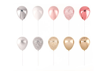 Set of 3D render pink, silver and golden balloons isolated on white background. Trendy realistic design 3d elements in pastel colors for birthday, presentation, promo, party or other events.