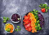 Fototapeta Tęcza - Fresh healthy vegetarian rainbow salad