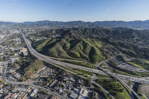 Aerial view of Ventura 101 Freeway and suburban Thousand Oaks near Los Angeles in scenic Southern California Canvas Print