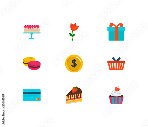 gift shop icons set macaroons and gift shop icons with flower