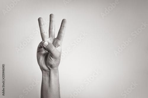 Obraz Hand showing three fingers.  - fototapety do salonu