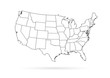 USA map black outline white background