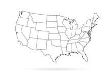 USA Map Black Outline White Background
